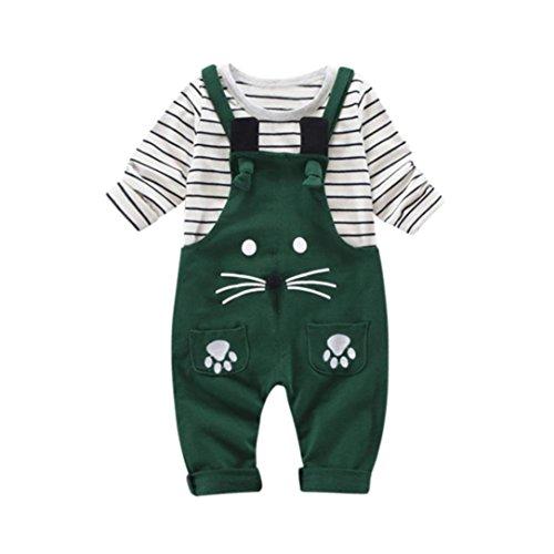 Outfits , Janly 2Pcs Infant Kleinkind Jungen Mädchen Streifen Shirts Tops + Cute Cat Hosen Overalls Langarm-Kleidung-Set (12-18 Monate, Grün) (Cat Outfit Für Kinder)