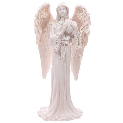 White Guardian Angel 20cm Figurine Ornament - Holding A Love Heart