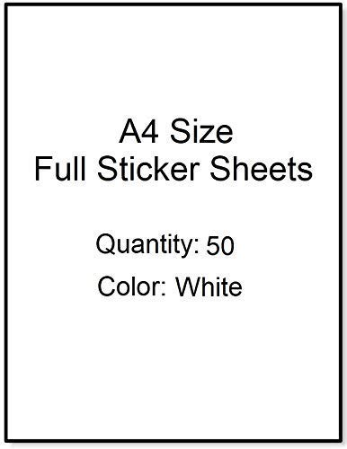 IMNSticky 50 Sheets of A4 Size White Sticker Paper 90/90 GSM, Soft-Glossy Surface, Adhesive Chromo Labels, Multipurpose Blank Sticky Label Sheets Suitable for Printing