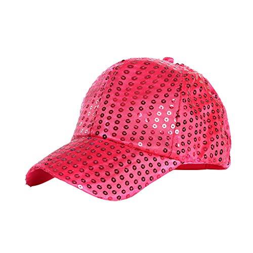 Junjie Hut Damen Herren Unisex Outdoor Hochwertige Pailletten Farbe Baseball Caps Verstellbarer Hut Rot, Lila, Schwarz, Rosa, Himmelblau, Silber, Hot Pink, Gold, Blau