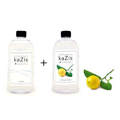 KAZIS I Duft-Set I Passend für alle katalytischen Lampen I Neutral + Zitrone I Nachfüll-Öl I 2 x 1000 ml I 2 x 1 Liter