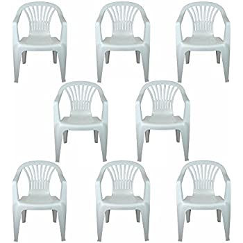 1fc91a94ec9e CrazyGadget Plastic Garden Low Back Chair Stackable Patio Outdoor Party  Seat Chairs Picnic White Pack of 8 ┃ Cheapest GardenTables 》  123PriceCheck.com