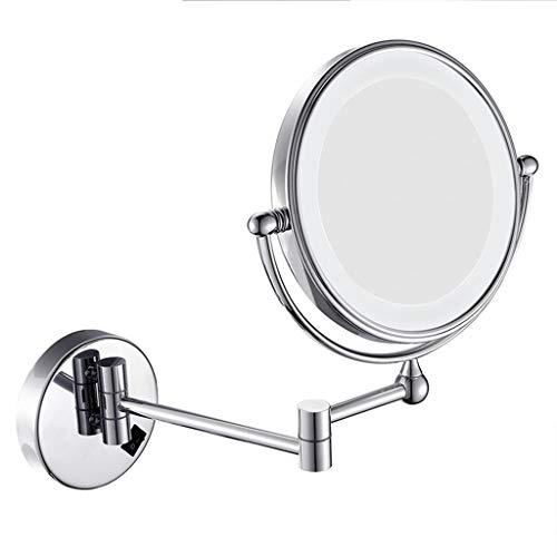 Wand- Schminkspiegel An Der Wand Montierter Make-up-Spiegel Mit 8 Zoll LED-Fülllicht Und Doppelseitigem Beleuchtetem Schminkspiegel Mit 5facher Vergrößerung ( Color : Silver , Size : 8 inches 5X ) - Wand Beleuchtete Make-up-spiegel