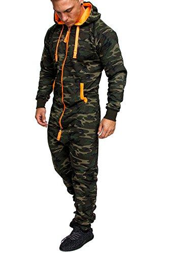 Amaci&Sons Herren Overall Jumpsuit Jogging Onesie Trainingsanzug Camouflage 3001 Camo Khaki M