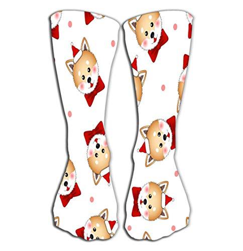BAOLANZHANG Hohe Socken Outdoor Sports Men Women High Socks Stocking Shiba Inu Santa Claus Dog red Ribbon pink Polka dot White Background Drawing Tile Length 19.7