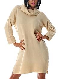 Damen Rollkragenpullover lang, warmer, langer Pulli in vielen Farben, Einheitsgröße 36-40