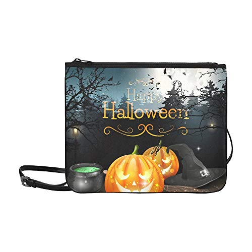 WYYWCY Halloween-Dekorationen Spooky Forest Benutzerdefinierte hochwertige Nylon Slim Clutch Cross Body Bag Schultertasche (Spooky Halloween Dekoration)