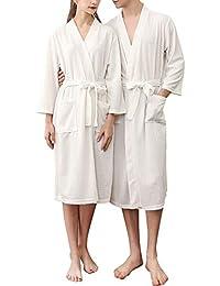Mini Balabala Robe de Chambre Kimono Tissage Gaufré Femme Coton Waffle Peignoir de Bain Légère col V Unisexe Pyjama pour l'hôtel Spa Sauna Vêtements de Nuit