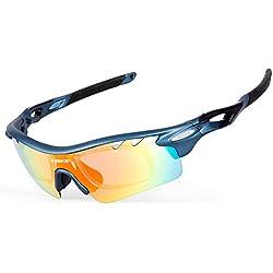 Inbike Gafas de Ciclismo de Sol con 5 Lentes de Bicicleta UV400 TR-90 (Blue)