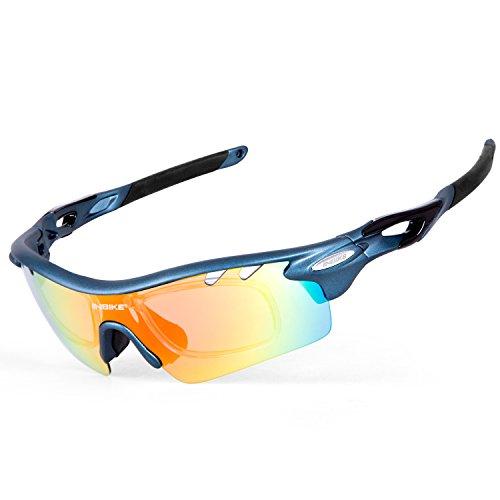 Foto de Inbike Gafas de Ciclismo de Sol con 5 Lentes de Bicicleta UV400 TR-90 (Blue)