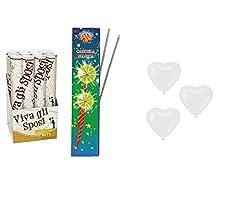 Idea Regalo - Zeus Party-Kit Wedding Matrimonio 12 Tubi sparacoriandoli sposi + 50 Palloncini a Cuore Bianco + 100 candeline scintille