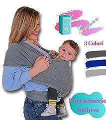 Idea Regalo - Fascia Porta Bebé Bambino Neonato LEOLEA Portaciuccio Incluso e Box Idea Regalo. Marsupio Neonati Cotone Elastico Naturale Morbido Baby Carrier Wrap