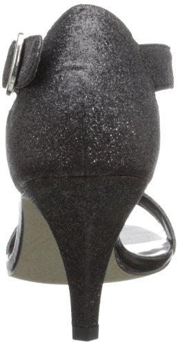 Easy Street Glitz Breit Offener Spitze Stoff Stöckelschuhe Black Glitter