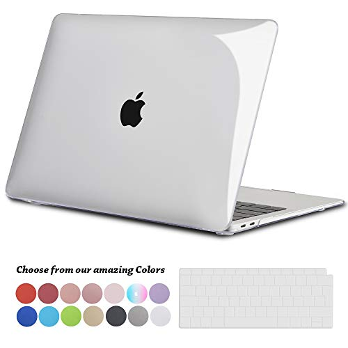 TECOOL Hülle für 2018 MacBook Air 13 Zoll Retina, Plastik Hartschale Matt Schutzhülle Case & Transparent Tastaturschutz für Neuen Apple MacBook Air 13,3 Zoll Touch ID (Modell:A1932)-Kristallklar