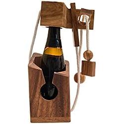 Get Drink? - gefangene Bierflasche, ein teuflisches Seilpuzzle, Verpackung für Bierflaschen, Denkspiel, Knobelspiel aus Holz