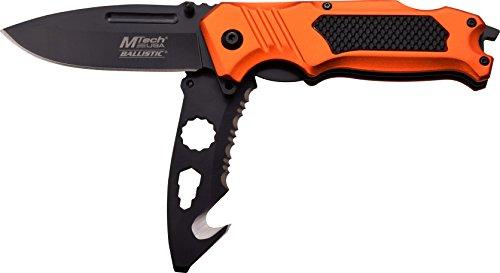 MTech USA Taschenmesser MT-A914 Serie, 2-fach Messer DESIGNER ORANGE ALU Griff, scharfes Jagdmesser, Outdoormesser 8,51 cm ROSTFREI DUAL Klinge Halbgezahnt, Klappmesser für  Angeln/ Jagd -