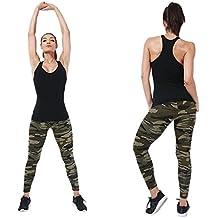 Pantalones de acampada y marcha para mujer, QinMM Leggings apretados impresos camuflaje (C)