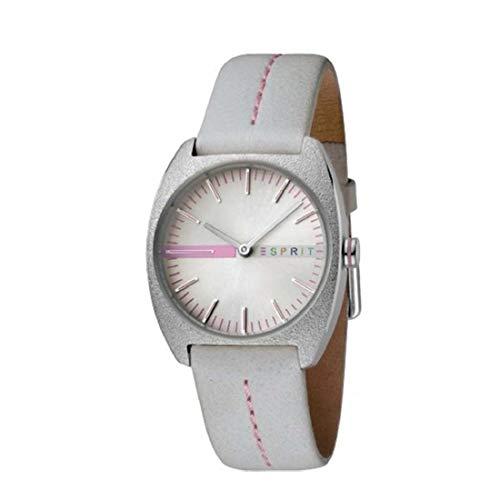 ESPRIT - Reloj analógico de Cuarzo para Mujer, Color Gris Claro con marcadores de Minuto Rosa