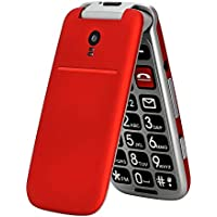 artfone CF241A Seniorenhandy ohne Vertrag   Dual SIM Handy mit Notruftaste   Rentner Handy große Tasten   2G GSM Klapphandy  Großtastenhandy mit Ladegerät und Kamera   2,4 Zoll Farbdisplay(Rot)