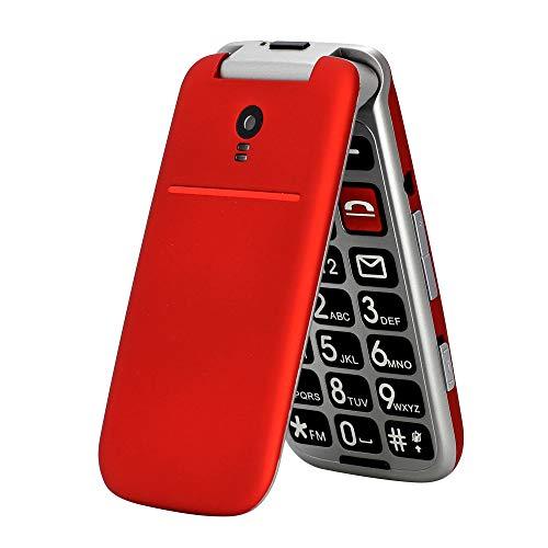 artfone CF241A Seniorenhandy ohne Vertrag | Dual SIM Handy mit Notruftaste | Rentner Handy große Tasten | 2G GSM Klapphandy| Großtastenhandy mit Ladegerät und Kamera | 2,4 Zoll Farbdisplay(Rot)