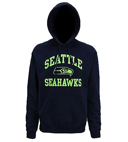Men's American Sports NFL Seattle Seahawks large graphic hoodie - Navy (Medium, Navy)