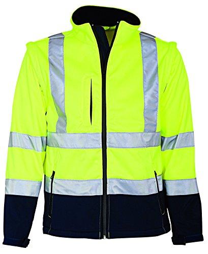 Elka Warnschutz Softshell Jacke mit abnehmbaren Ärmeln 5XL Gelb/Marineblau