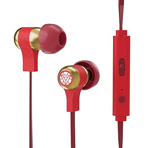 Tribe Marvel Avengers - Stereo In-Ear Ohrhörer mit Mikrofon und Lautstärkeregler für Handy Smartphone iPhone 7, 6/6S, SE, 5, Samsung Galaxy etc. I Kopfhörer mit 3.5 mm Klinkenstecker - Iron Man