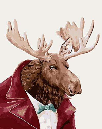 Dahuahuafm DIY Digitale malerei Erwachsene Hand malerei Kinder färbung Puzzle Spiel malerei Tier Hirsch wanddekoration malerei Geschenk für Erwachsene und Kinder 16 * 20 Zoll mit Rahmen malerei