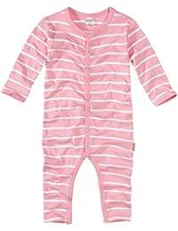 wellyou, Schlafanzug, Pyjama für Mädchen, Einteiler langarm, Baby Kinder, rosa weiß gestreift, geringelt, Feinripp 100% Baumwolle, Größe 56-134