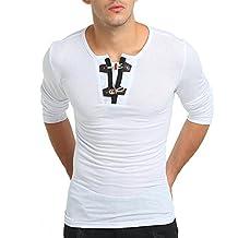 Camisa Mezcla de Algodón Hombre, BBestseller Manga Larga Slim Fit Otoño de Color Puro de