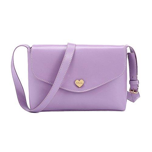DELEY Mode Frauen Herzform Design Süßigkeit Farbige Mini Handtasche Umhängetasche Violett