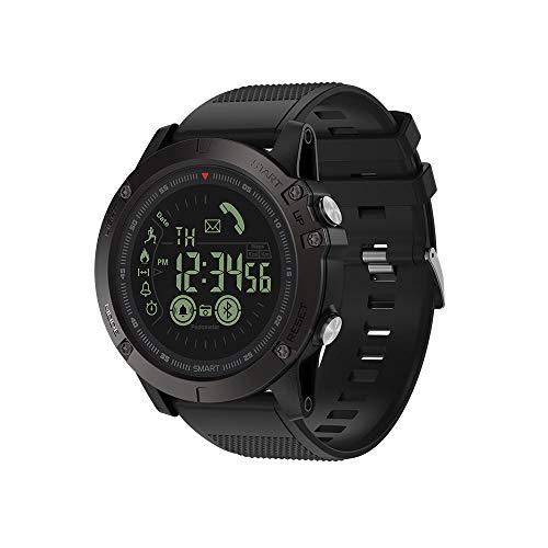 JS Reloj Deportivo Inteligente, BT4.0 5ATM a Prueba de Agua Banda de muñeca Inteligente Podómetro Alarma Cronómetro Recordatorios de cámara remotos Compatible con iOS y Android,Black