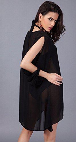 QIYUN.Z (TM) Nouvel ete V-Cou Manches Longues Fente Irreguliere Ourlet Mini Robe Transparente Lache Noir