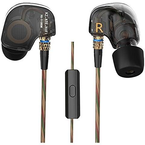 KZ ATE Hi-Fi IEM Sport cuffie con driver di rame gancio per l'orecchio e schiuma Auricolari Specialmente per Music Fans, Mic Edition
