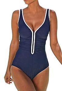ZIYYOOHY Damen Badeanzug Rückenfrei Einteiler Figurformed Bauchweg Monokini...
