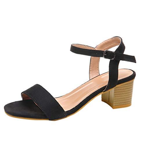 SEHRGUTGE Damen Damen Retro Schnalle Strap Block Ferse Sandalen Schuhe, Riemchen Hohe Chunky Heel Lässige Sandalen Schuhe (Schwarze Riemchen Mädchen Kostüm Heel Schuhe)