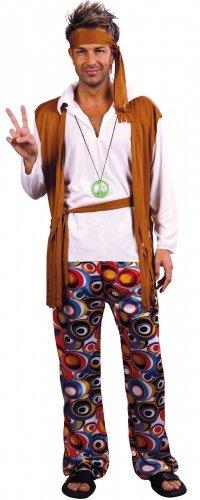 Generique - Déguisement Hippie Marron et Blanc Homme XL