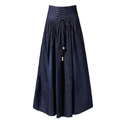 Frauen Jeans Skirts, Oversized A Line Rock, Flared Distressed Fringe Jeans Skirts,6XL