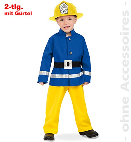 Gelb Kostüm Feuerwehrmann - Generique - Feuerwehrmann Kinder-Kostüm Blau-Gelb-Schwarz