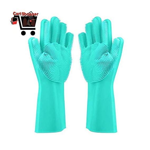 Cartshopper Silicone Glove Resuable Household Scrubber Scald Dishwashing Gloves 2pcs/Pair Magic Washing Brush Kitchen Bed Bathroom Cleaning Tools