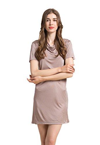 Silk Nightdress Pajamas Sleepwear Homewear Braun XL -