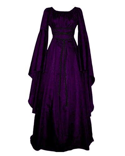 Damen Halloween Kostüm Kleid Mit Kapuze Lose Langarm Lang Maxi Kleid Mittelalter Kostüm Violett XL