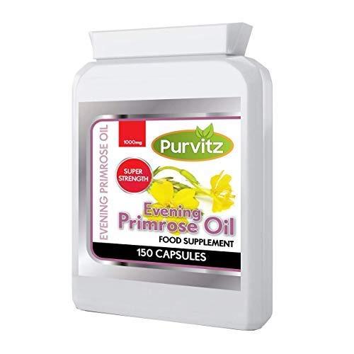 Nachtkerzenöl 1000mg 150 Softgel Kapseln Entlastung für Wechseljahre Pms und Menstruation Symptome Hergestellt in der UK Purvitz -