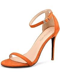 L-XIE Mujer Señoras Sandalias Medio Alto Tacón Strappy Fiesta Boda Paseo Tobillo Correa Zapatos Ante tamaño, orange...