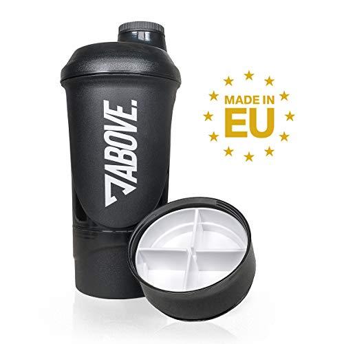 ABOVE. Protein Shaker Plus | 600ml EIWEIßSHAKER + 200ml PULVERFACH und 150ml PILLENDOSE | BPA FREI | Fitness Eiweiß Shaker