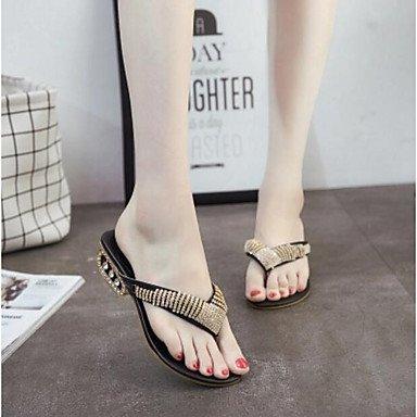 zhENfu Women's Sandals Slingback PU Summer Casual Black Gold 1in-1 3/4in Black