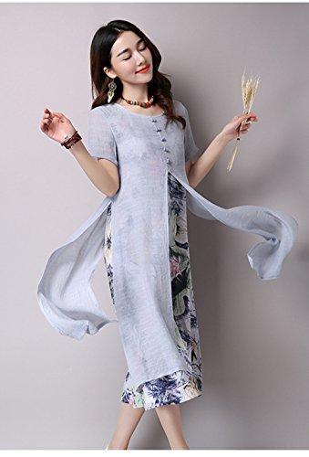 Blansdi Femme Vrac Robe Rétro Tunique en Coton Longue Chemise A-Lin Grande Taille Vintage Robe Gris