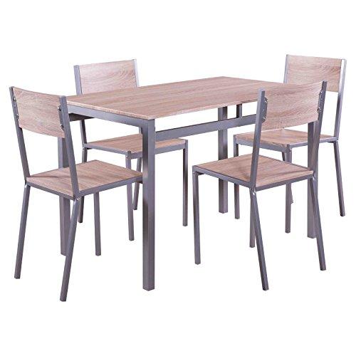 Holz Esszimmer Tisch Stühle (MACOShopde by MACO Möbel Esstischgruppe 5 Teile Sitzgruppe mit 4 Stühlen und Esstisch 110 x 70 cm in Holz Dekor, Essgruppe, Tischgruppe)