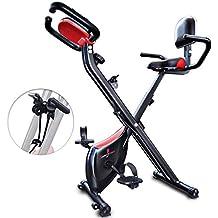 Sportstech Bicicleta estática Plegable con Respaldo X100-B con Volante de inercia de 4kg +