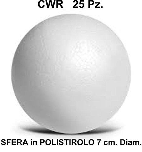 25 SFERA POLISTIROLO, PALLINA diametro 7 cm